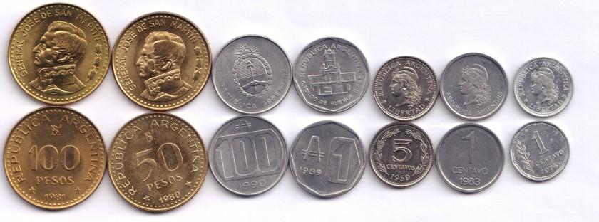 Argentina 1959-1990 7 coins UNC