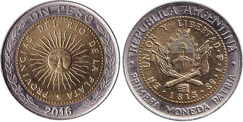 Argentina 2016 KM# 112 1 Peso UNC