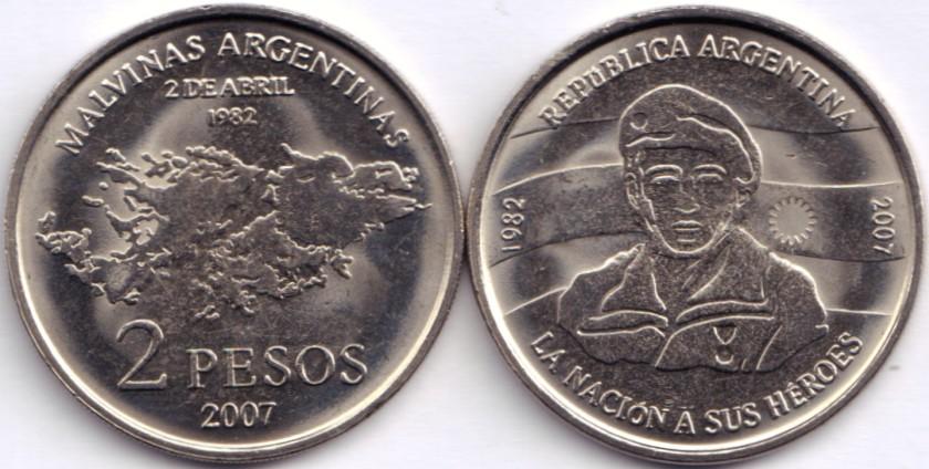 Argentina 2007 KM# 144 2 Pesos UNC