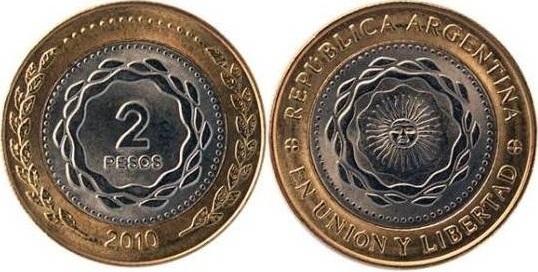 Argentina 2010 KM# 165 2 Pesos UNC