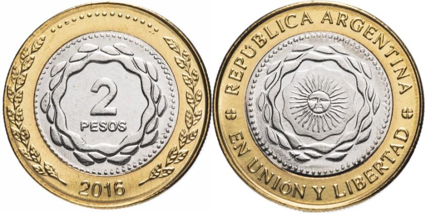 Argentina 2016 KM# 165 2 Pesos UNC