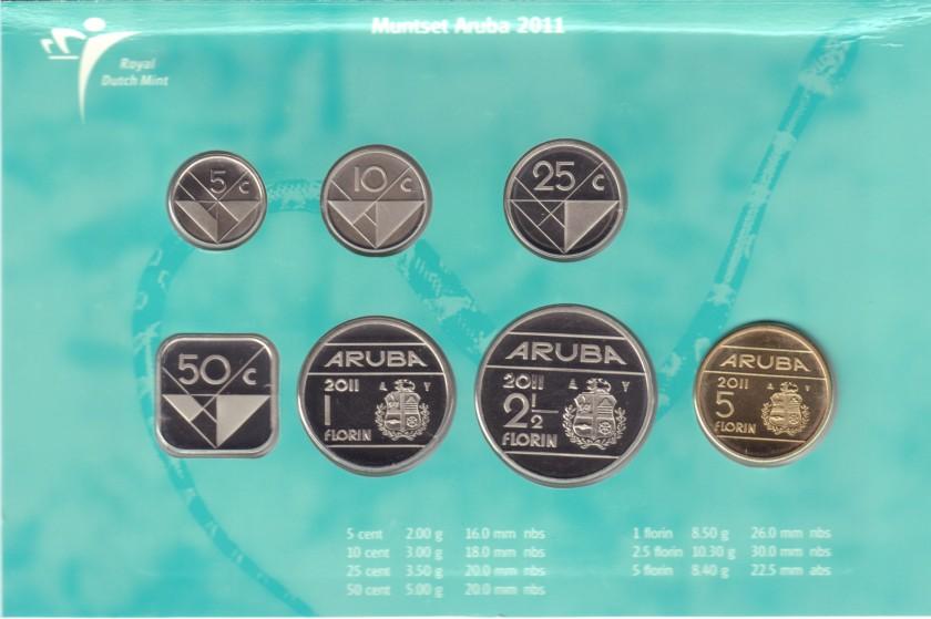 Aruba 2011 KM# 1 - 6, 12 Mint Set 7 coins UNC