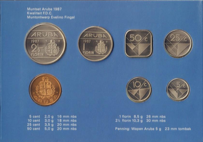 Aruba 1987 KM# 1 - 6 Mint Set 6 coins UNC