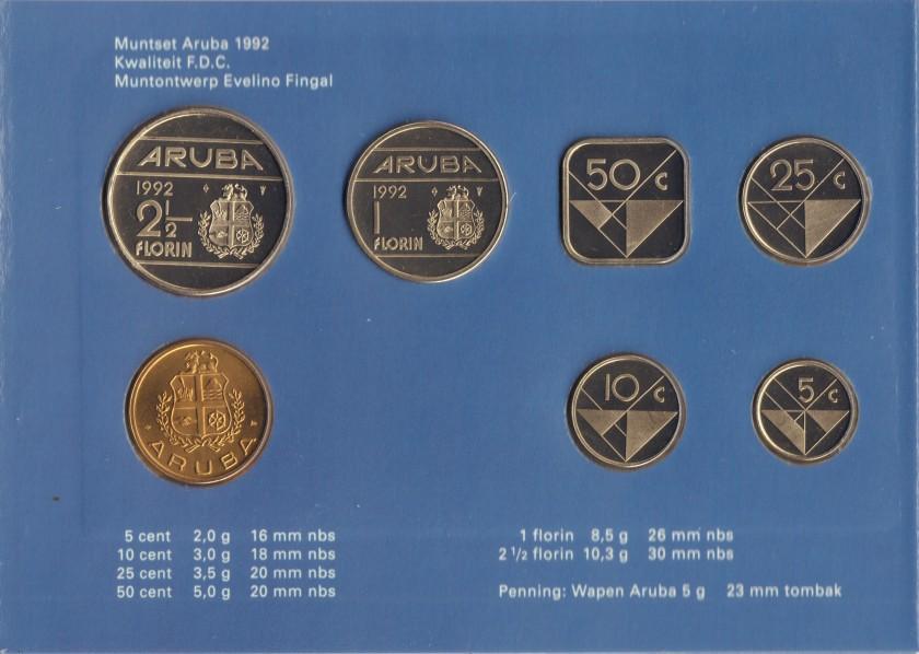 Aruba 1992 KM# 1 - 6 Mint Set 6 coins UNC