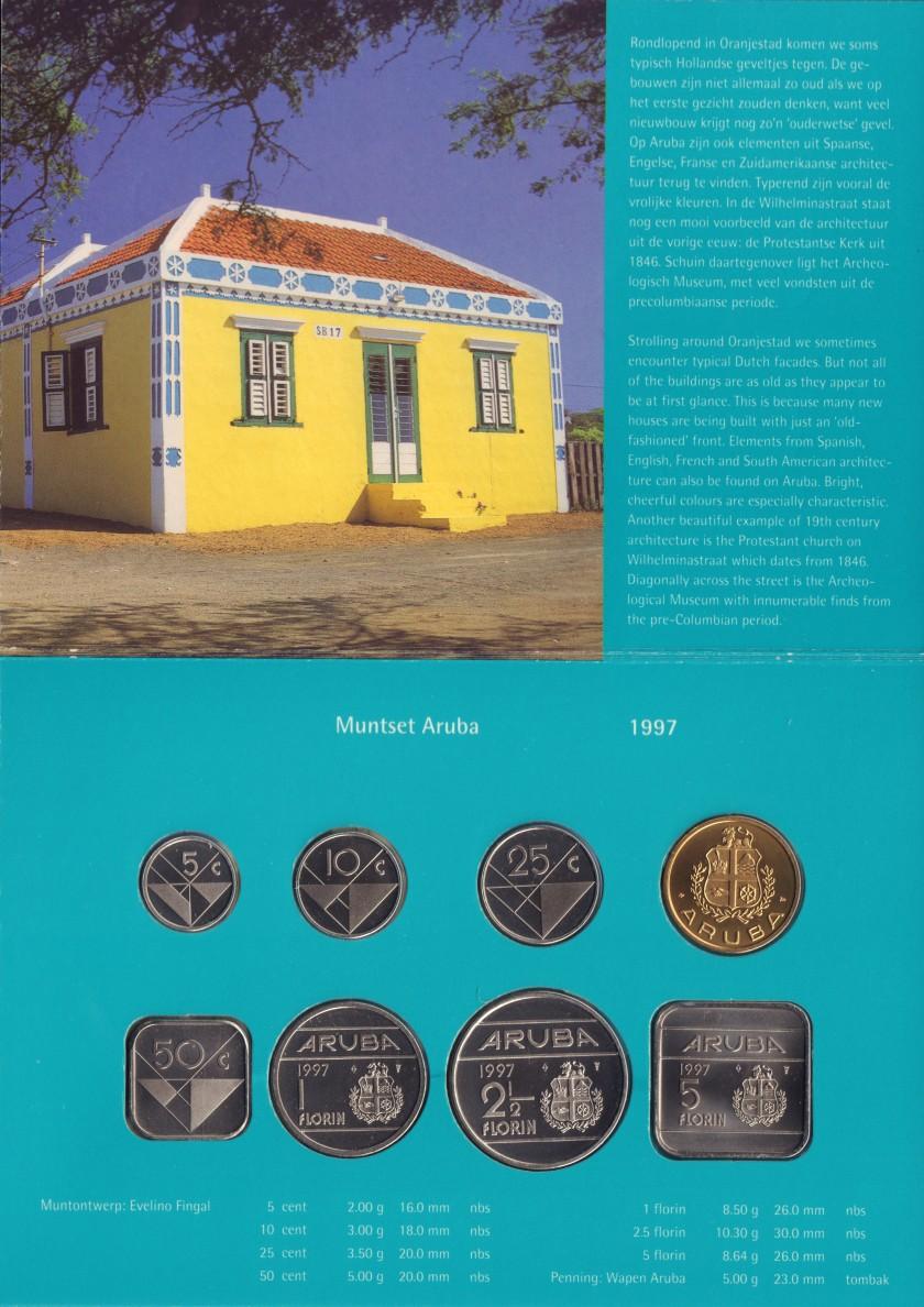 Aruba 1997 KM# 1 - 6, 12 Mint Set 7 coins UNC