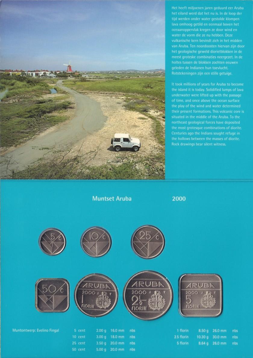 Aruba 2000 KM# 1 - 6, 12 Mint Set 7 coins UNC