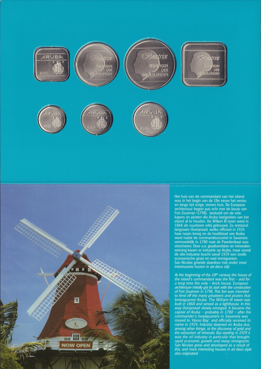 Aruba 2001 KM# 1 - 6, 12 Mint Set 7 coins UNC