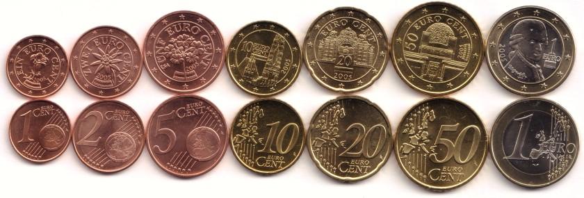 Austria 2005 Euro coins set 1 Euro cent - 1 Euro UNC