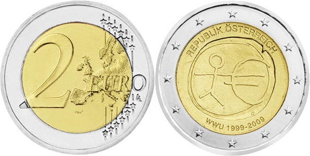 Austria 2009 2 Euro 10 Years of Monetary and Economic Union UNC