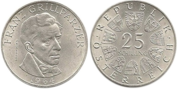 Austria KM# 2895.1 25 Schilling 1964 UNC