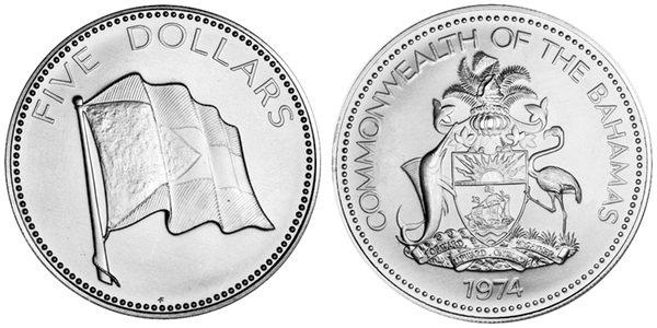 Bahamas 1974 KM# 67 5 Dollars UNC