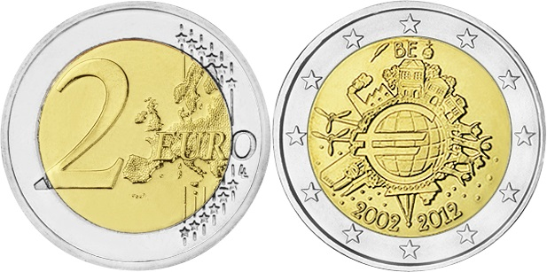 Belgium 2012 2 Euro Ten years of euro banknotes and coins UNC
