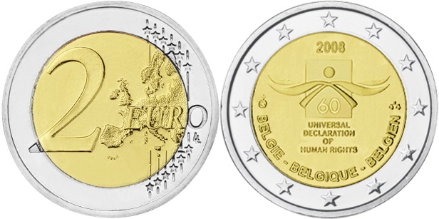 Belgium 2008 2 Euro 60th anniversary of the Universal Declaration of Human Right