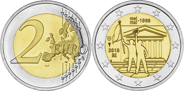Belgium 2018 2 Euro 50 Years of Student Revolt in May 1968 (French) UNC
