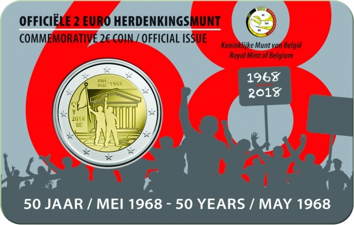 Belgium 2018 2 Euro 50 Years of Student Revolt in May 1968 (Dutch) UNC