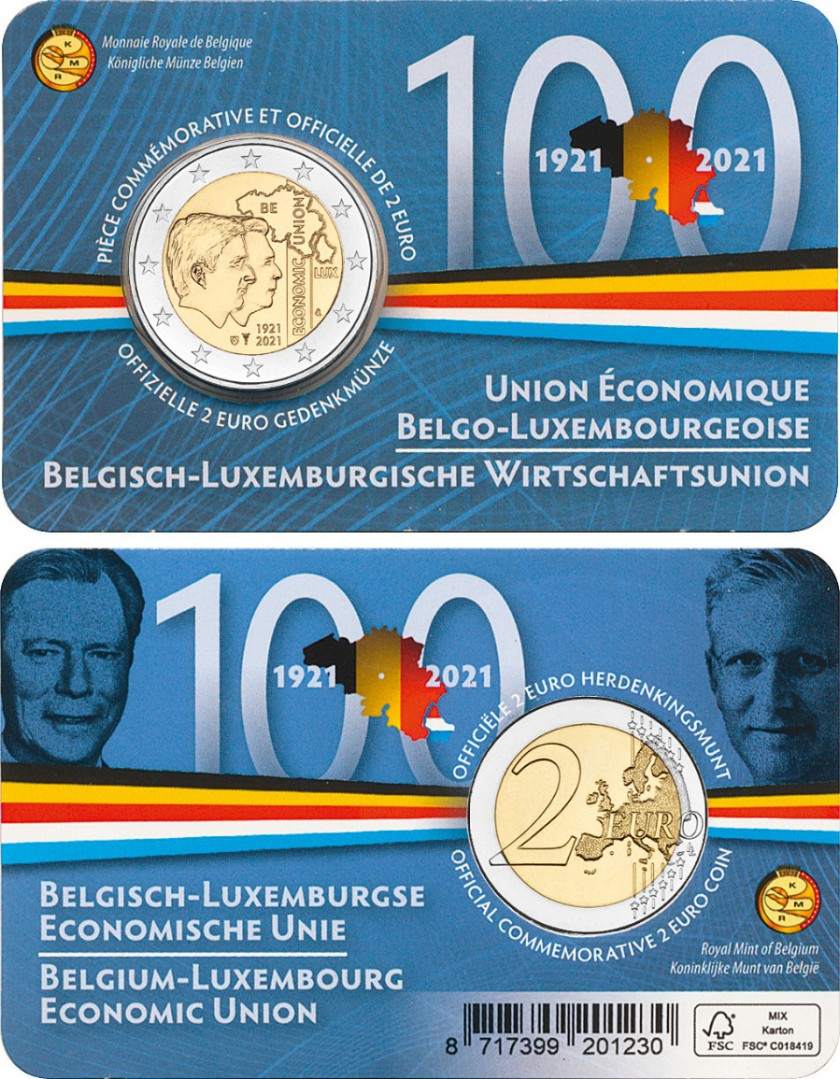 Belgium 2021 2 Euro 100 years of Belgium-Luxembourg Economic Union (Dutch) UNC