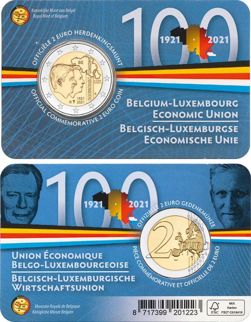 Belgium 2021 2 Euro 100 years of Belgium-Luxembourg Economic Union (French) UNC