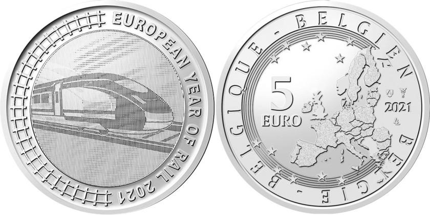 Belgium 2021 5 Euro European Year of Rail 2021 UNC