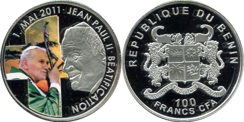 Benin 2011 100 Francs Beatification of Pope John Paul II Prooflike