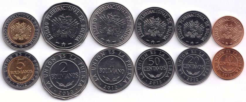 Bolivia 2012 KM# 214-219 6 coins UNC