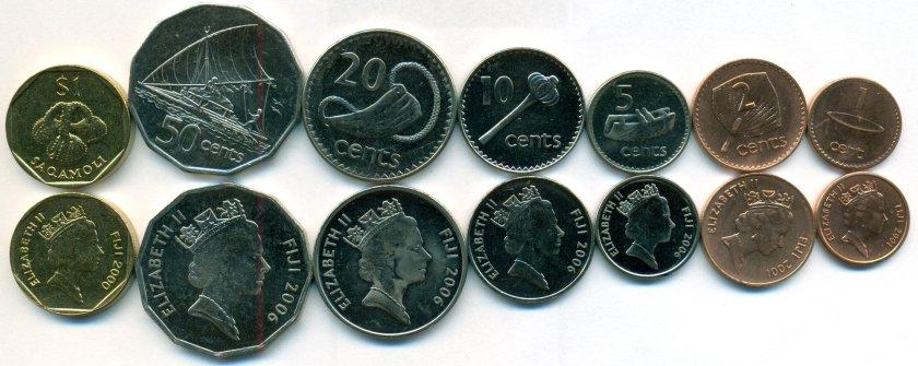 Fiji 2000 - 2006 KM# 49a-54a,73 7 coins UNC
