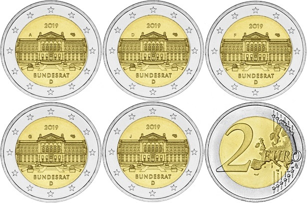 Germany 2019 2 Euro Federal Council ADFGJ 5 coins UNC