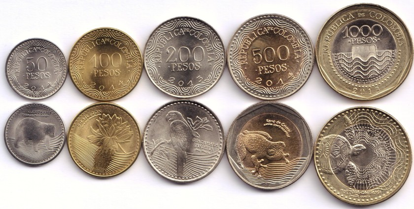 Colombia 2013 - 2014 5 coins UNC