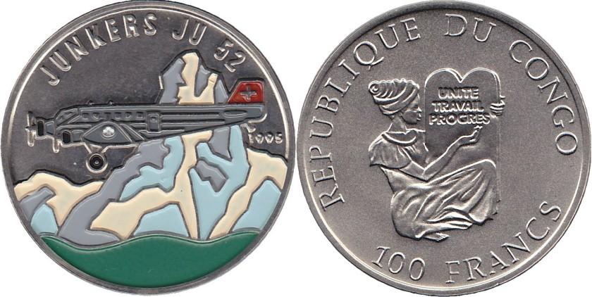 Congo Republic 1995 KM# 21 100 Francs UNC