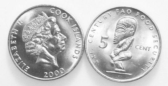 Cook Islands 2000 KM# 369 5 Cents FAO UNC