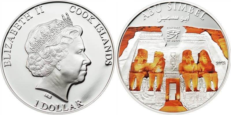 Cook Islands 2012 Abu Simbel 1 Dollar Proof