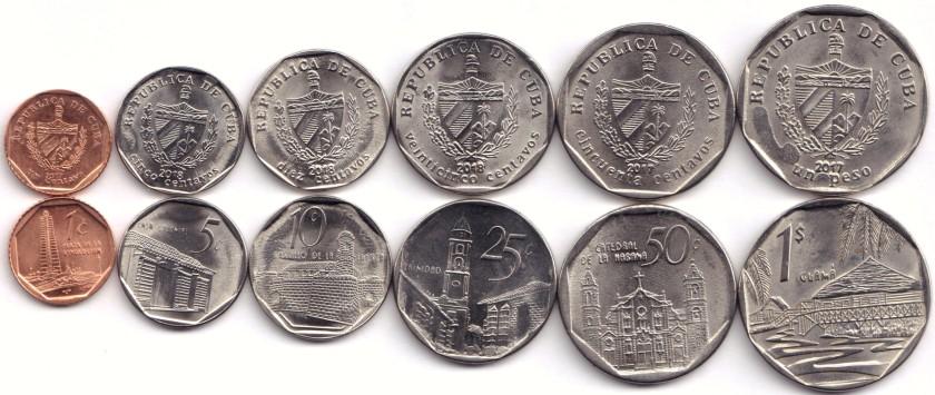 Cuba 2017 - 2018 KM# 729, 575 - 579 1,5,10,25,50 Centavos 1 Peso 6 coins UNC