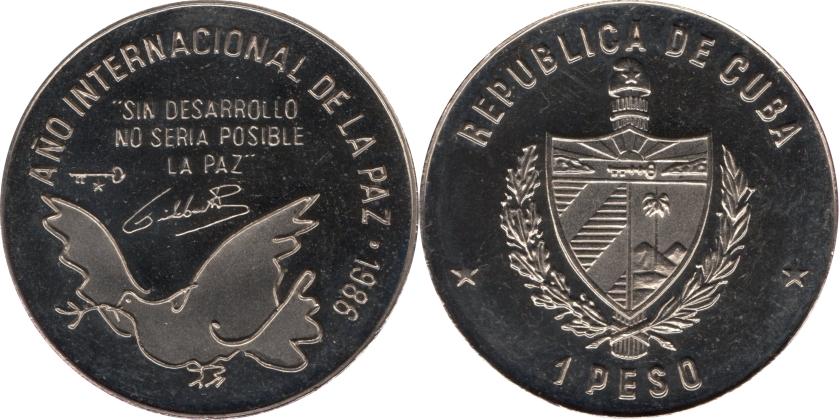Cuba 1986 KM# 156 1 Peso Proof-like