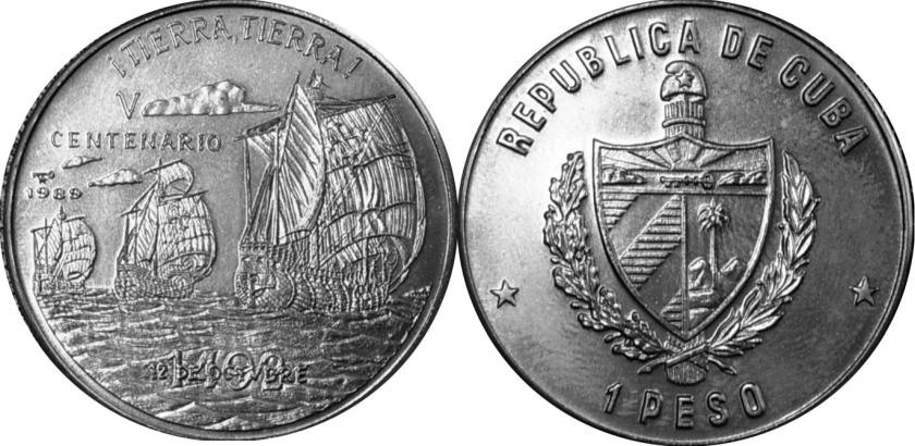Cuba 1989 KM# 261 1 Peso UNC