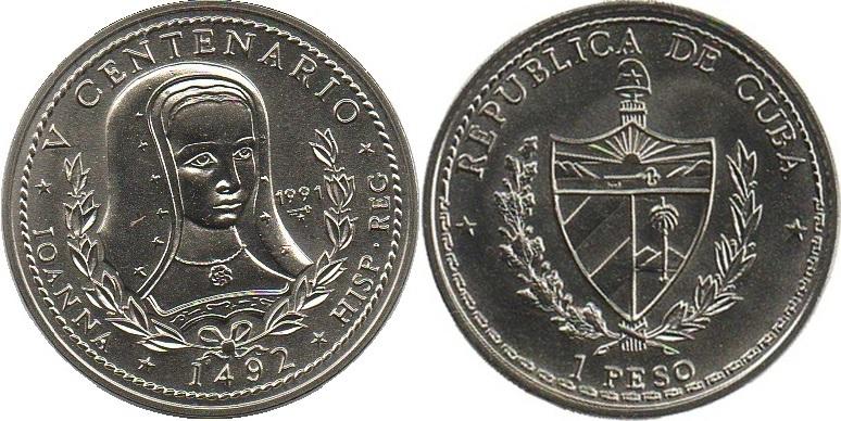 Cuba 1991 KM# 366 1 Peso UNC