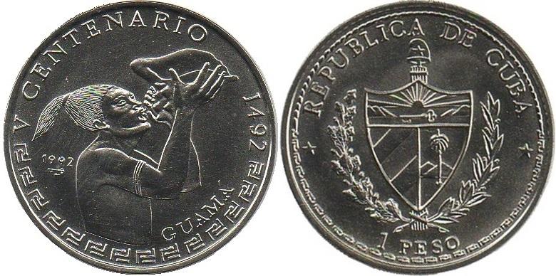 Cuba 1992 KM# 393 1 Peso UNC