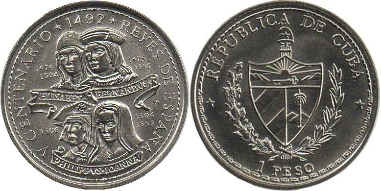 Cuba 1992 KM# 395 1 Peso UNC