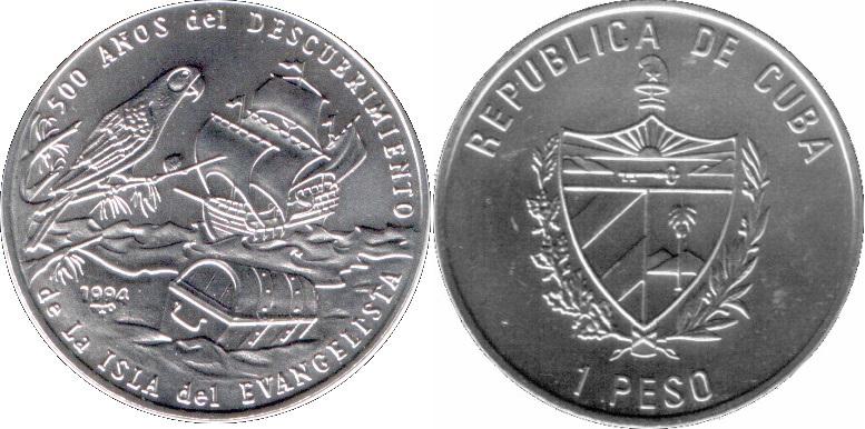Cuba 1994 KM# 463 1 Peso UNC