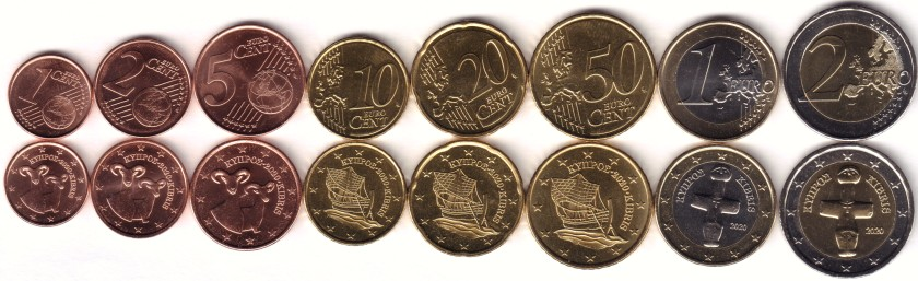 Cyprus 2020 Euro coins set UNC