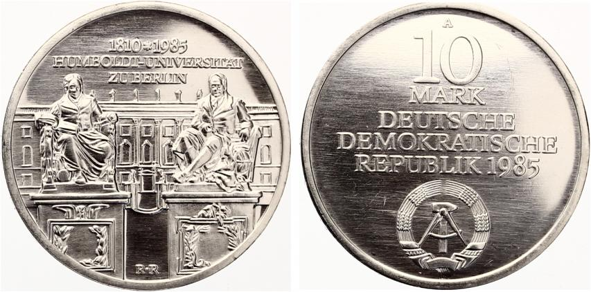 Germany GDR 1985 10 Mark Humboldt University of Berlin Silver UNC