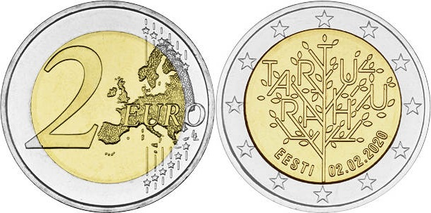 Estonia 2020 2 Euro The centenary of the Tartu Peace Treaty