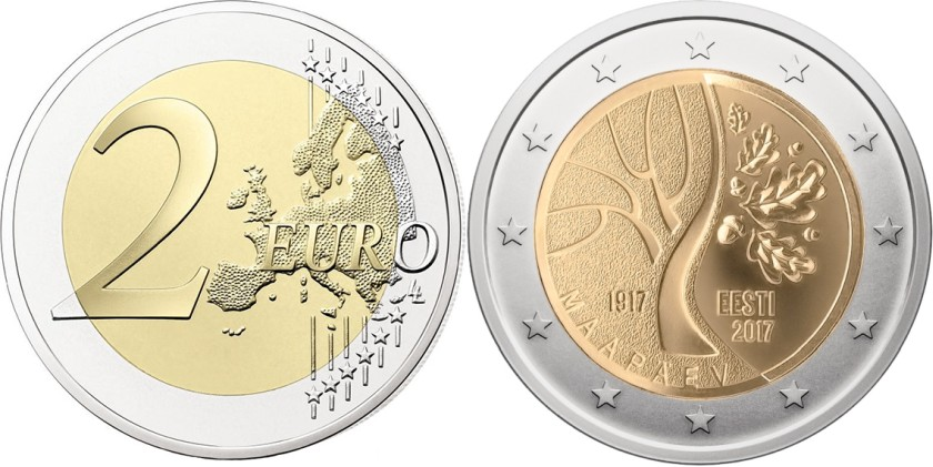 Estonia 2017 2 Euro Estonia's road to independence Coin Card BU