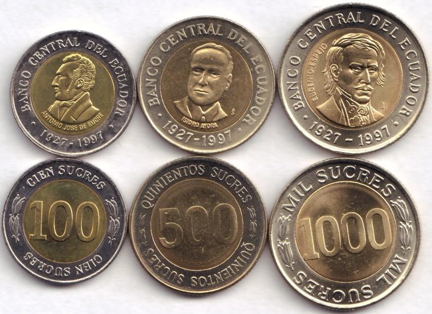 Ecuador 1988 - 1991 KM# 101 - 103 100, 500, 1000 Sucres 3 coins UNC