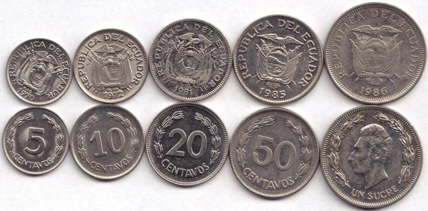 Ecuador 1970 - 1986 5, 10, 20, 50 Centavos 1 Sucre 5 coins AU-UNC