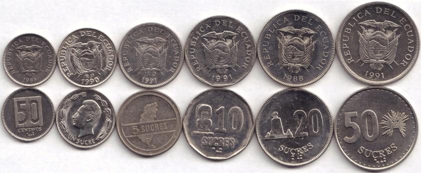 Ecuador 1988 - 1991 50 Centavos, 1, 5, 10, 20, 50 Sucres 6 coins AU-UNC