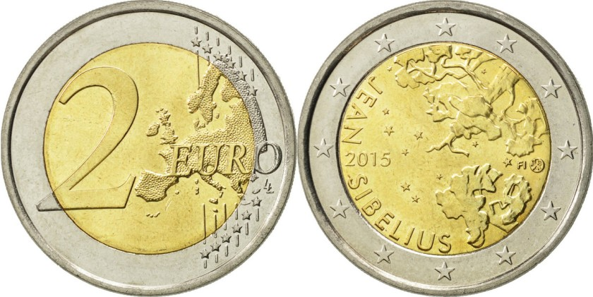 Finland 2015 2 Euro The 150th anniversary of the birth of composer Jean Sibelius