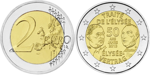 France 2013 2 Euro 50th anniversary of the signing of the Elysee Treaty UNC