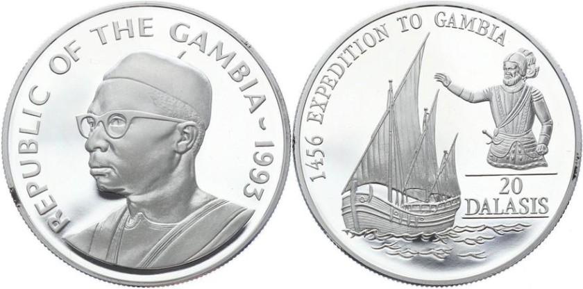 Gambia 1993 KM# 34 20 Dalasis Proof