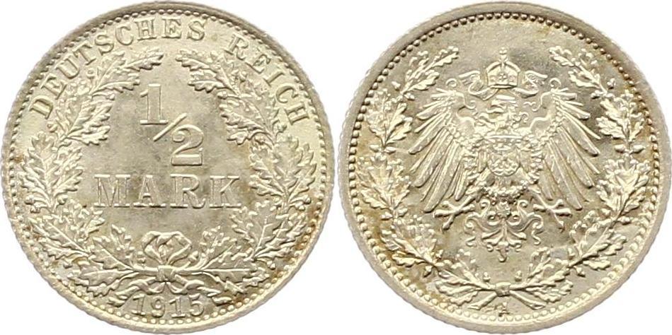 Germany 1915 KM# 17 1/2 Mark A AU-UNC