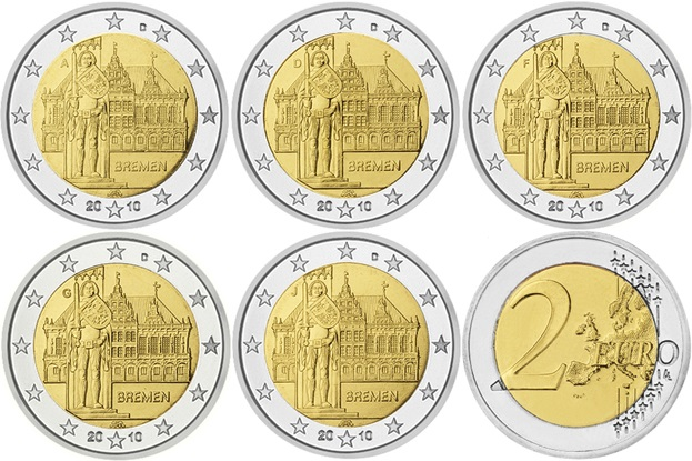 Germany 2010 2 Euro Federal state of Bremen ADFGJ 5 coins UNC
