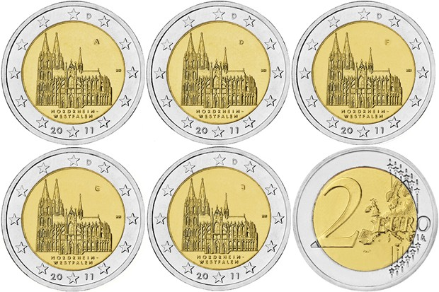 Germany 2011 2 Euro Federal state of North Rhine-Westphalia ADFGJ 5 coins UNC